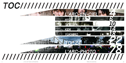 L'Arc~en~Ciel Chansons Book Table Of Contents