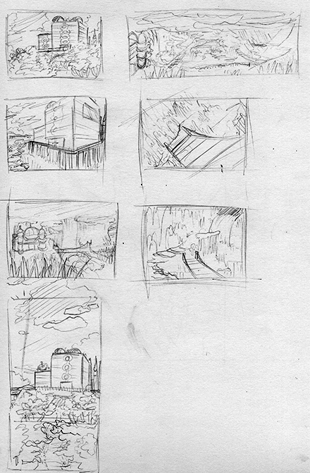 Meteor Falls Background Concept Sketch Collection