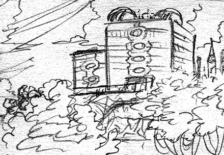 Meteor Falls Concept Sketch Background Thumbnail One