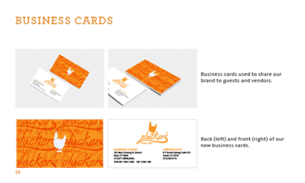 Plucker's Re-Brand Manual Business Card Page