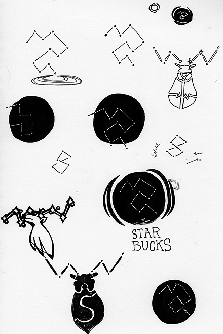 Starbucks Re-Brand Logo Process Sketch Two