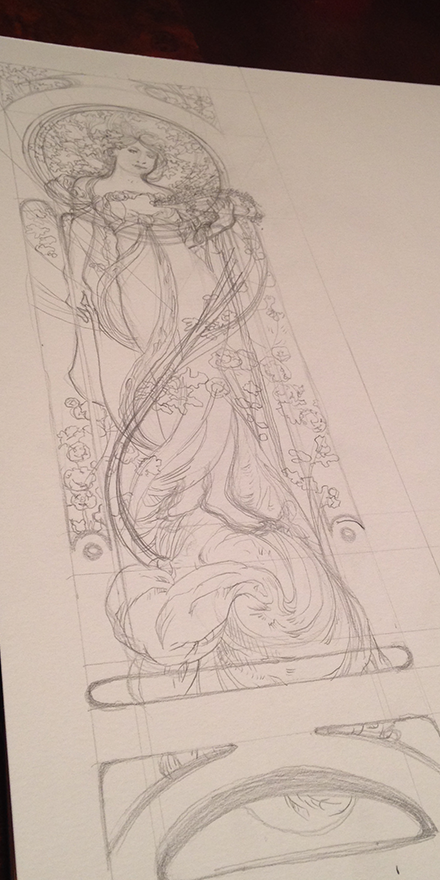 Alphonse Mucha White Star Replica Illustration Process Sketch Three