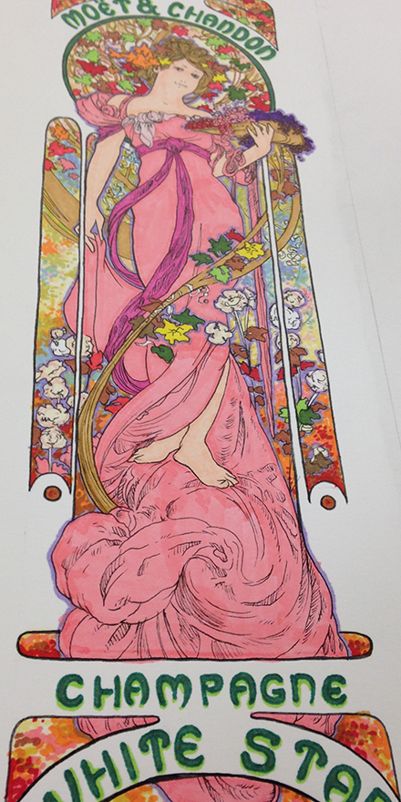 Alphonse Mucha White Star Replica Illustration Process Sketch Seven