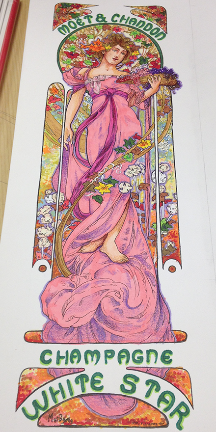 Alphonse Mucha White Star Replica Illustration Process Sketch Eight